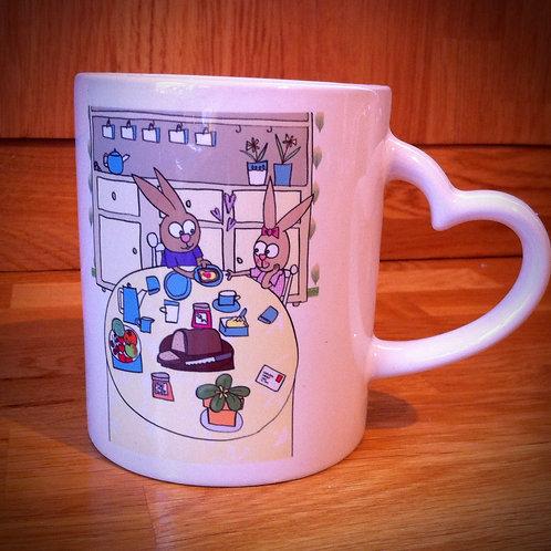 Love Mug Bunnies tea cup or coffee mug.