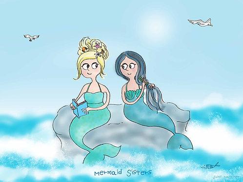 Mermaid sisters print