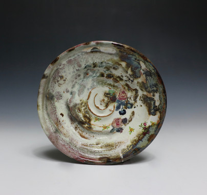 Stoneware, thrown and altered. Glaze and commercial decals.  Cone 10 Reduction and Cone 018 electric