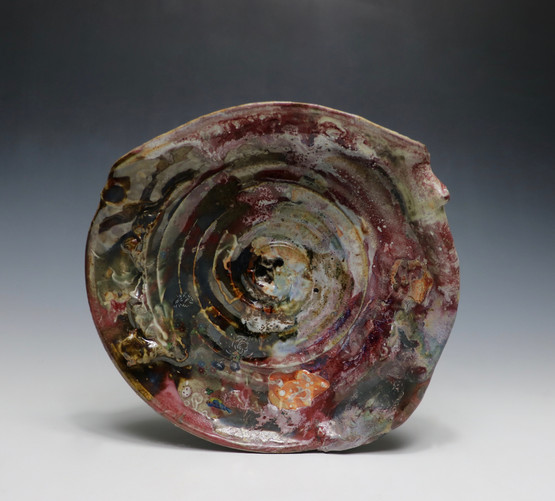 Stoneware, thrown and altered. Glaze, and commercial decals.  Cone 10 Reduction and Cone 018 electric