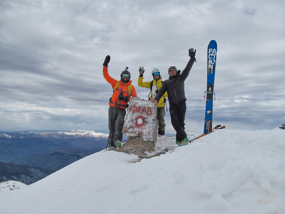 On top of Albania and Macedonia, classic summit pic from Golem Korab  with Meto and Tome