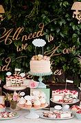 Wedding cake on a dessert table