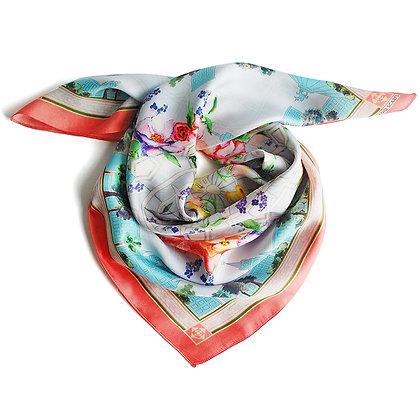 Платок Городские цветы. Шелк. 65*65 см