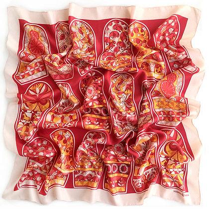 Платок Матрешки. Красный. Шелк. 90*90 см