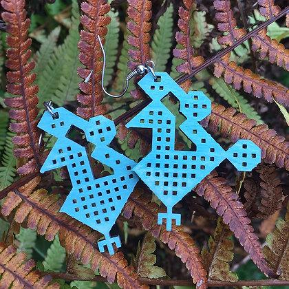 Серьги Птички Синие