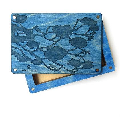 Монетница / Портсигар. Синее дерево