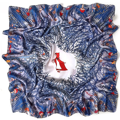 Платок Красная Шапочка Синий. Slava Zaitsev. Шелк. 90*90 см