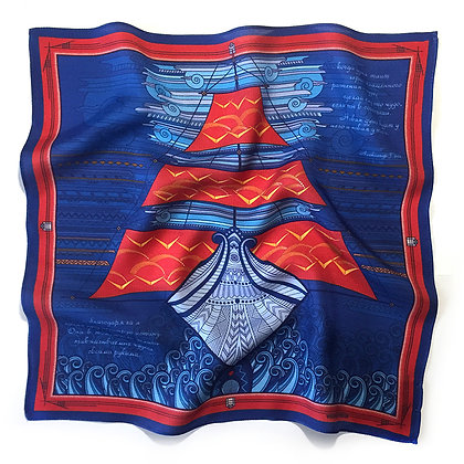Мужской платок-паше Алые паруса. 36*36 см