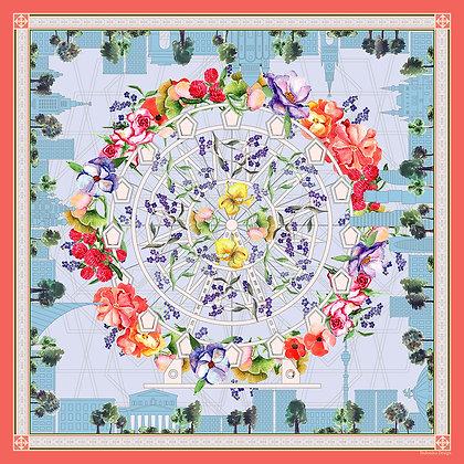 Платок Городские цветы. Шелк. 90*90 см