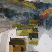 Through the village, collage, ink, mixed media