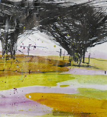 Hawthorn Hedge, acrylic on paper, 40x40cms  framed £450