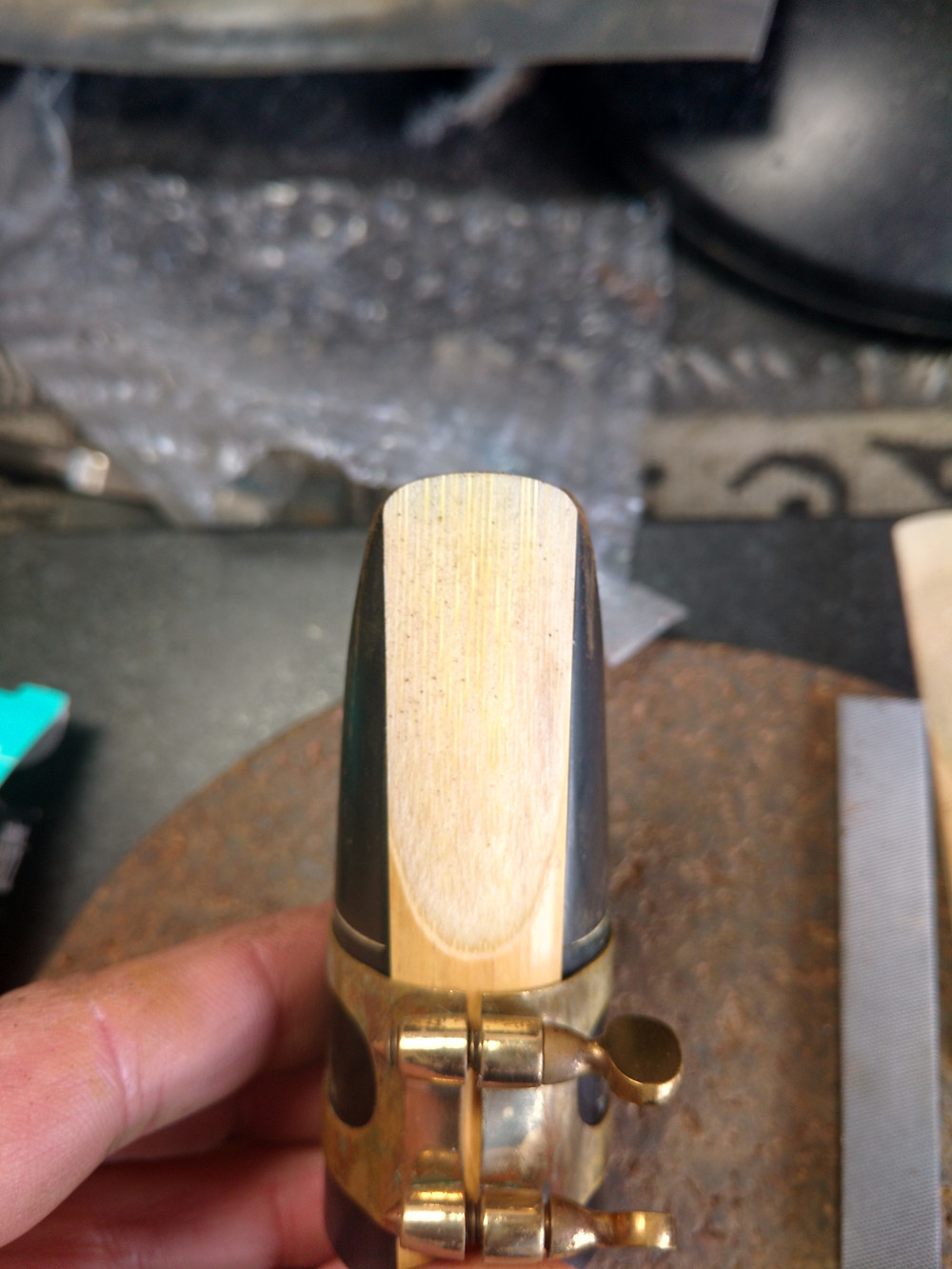 Re-shaping the contour to match a D'Addario Select reed.