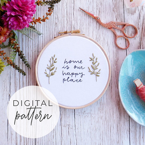 Happy Place Digital Embroidery Pattern