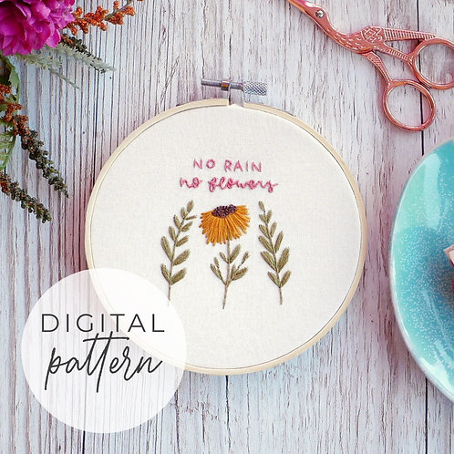 No Flowers Digital Embroidery Pattern