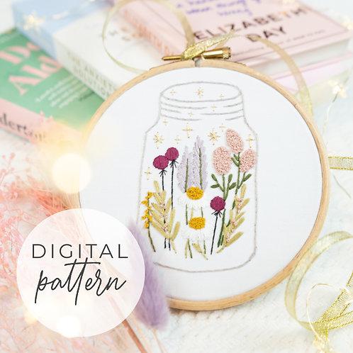 Cosmic Wildflower Digital Embroidery Pattern