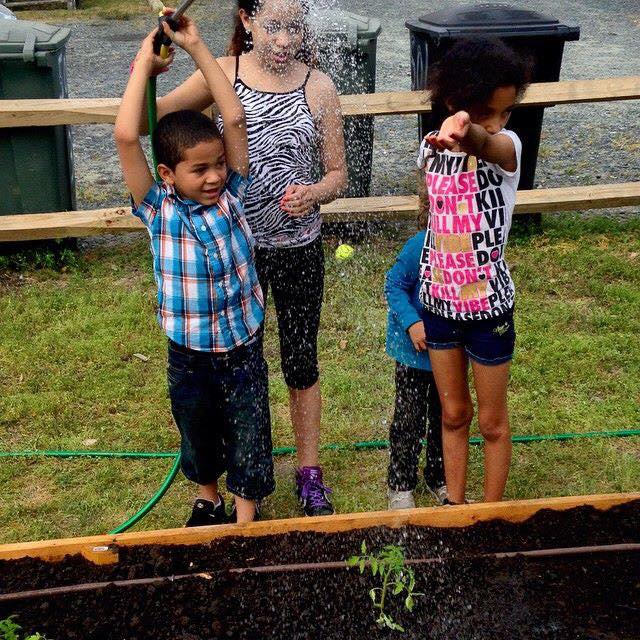 Community children watering