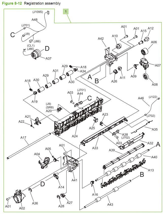 12. HP CM3530 Registration assembly printer parts diagram