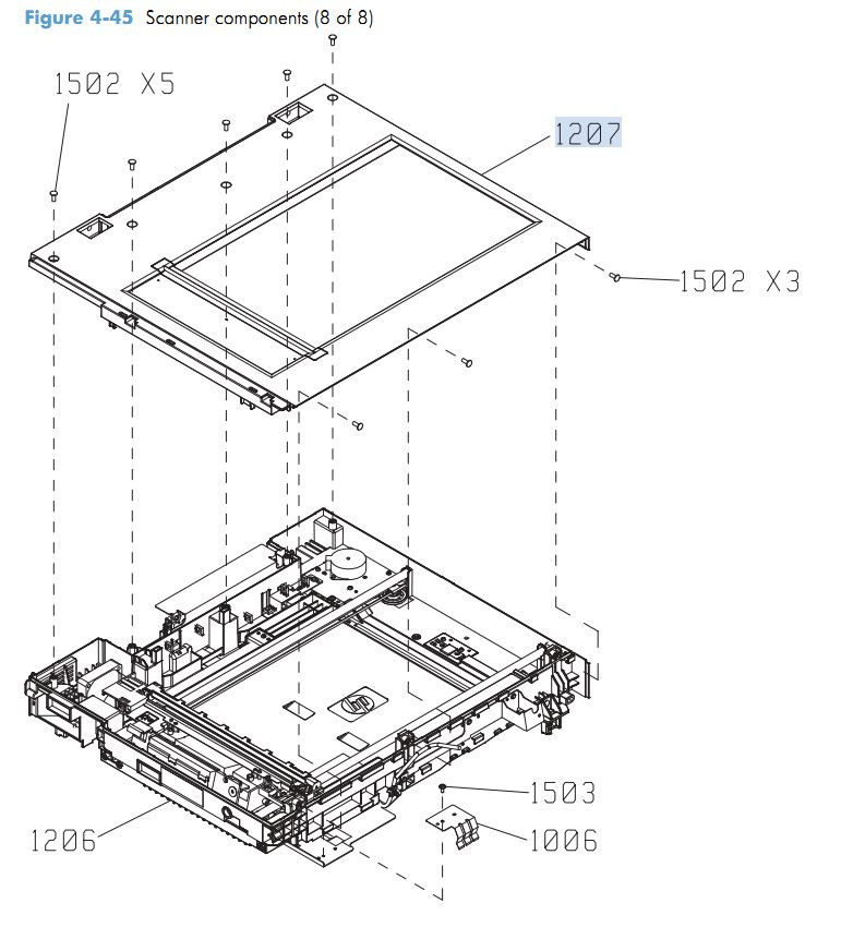 9. HP M4555 Scanner Components 8 of 8 printer parts diagram