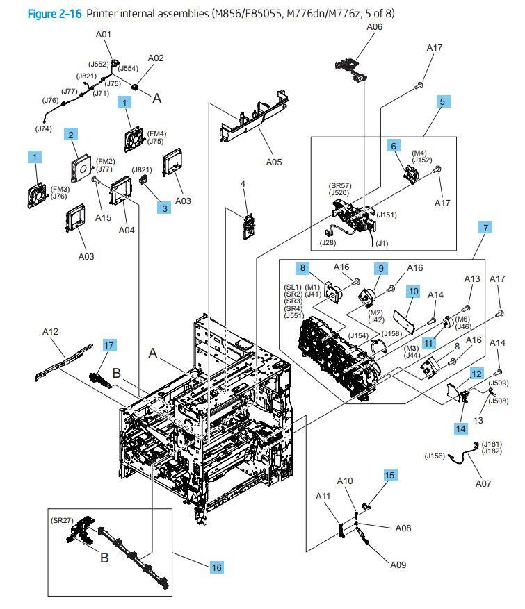 16. HP M776dn M776z M856 E85055 Printer internal assemblies 5 of 8 printer parts diagram