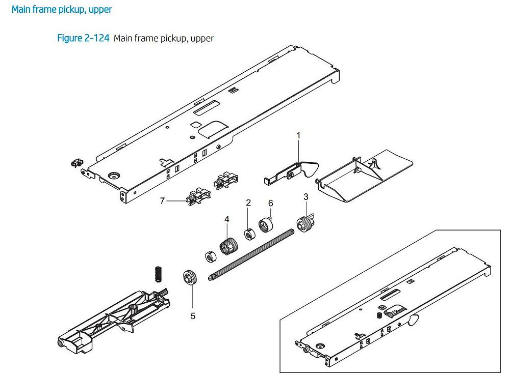 8. HP E72425 E72430 Main frame pickup upper printer parts diagram
