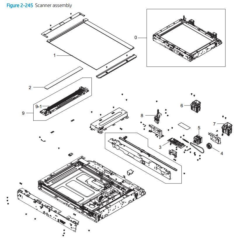 18. HP E72425 E72430 Scanner assembly printer parts diagram