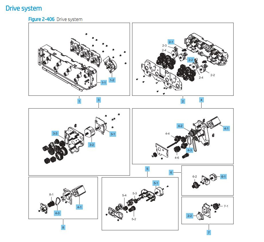 8. HP E87640 E87650 E87660 Drive System Assembly Printer Part Diagrams