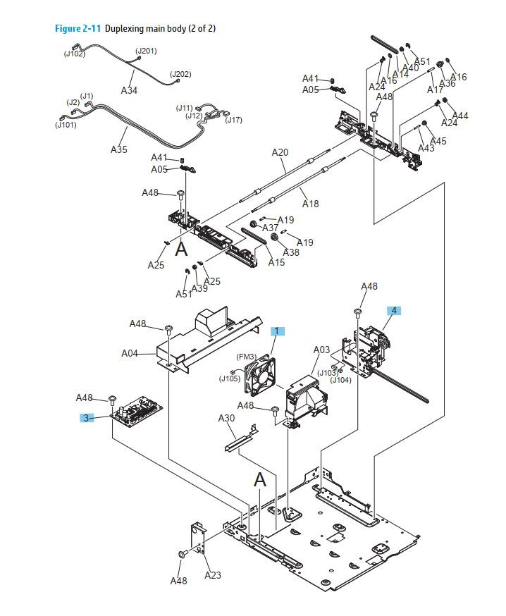 10. HP M701 M706 Duplexer main body printer parts diagram