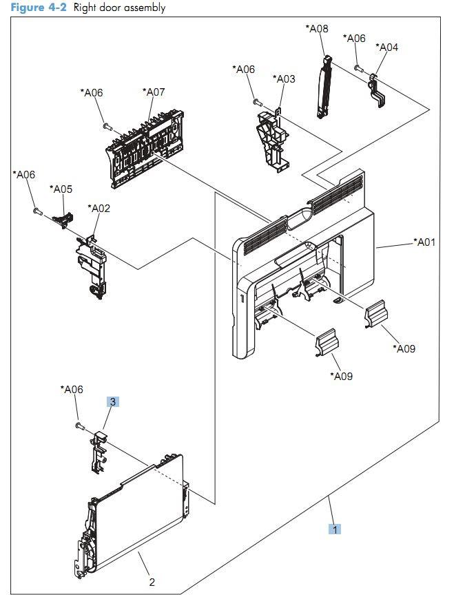 2. HP CM4540 Right door assembly printer parts diagram