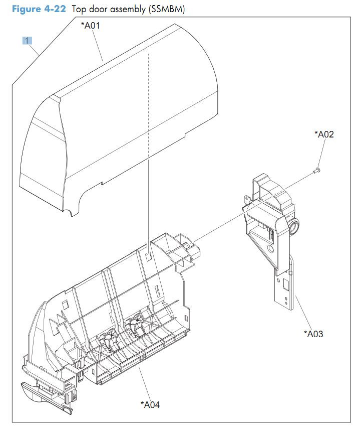 22. HP CM4540 Top door assembly printer parts diagram