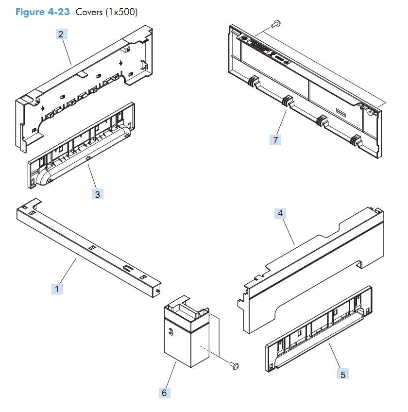 18. HP M4555 Paper feeder covers assembly printer parts diagram