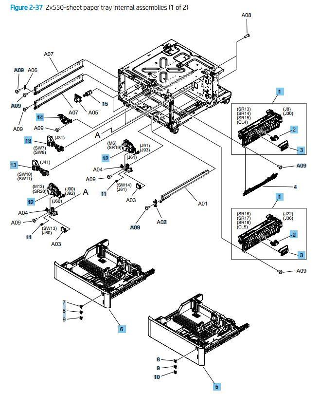 37. HP M776dn M776z M856 E85055 2 x 550 sheet tray internal assemblies 1 of 2 printer parts diagram