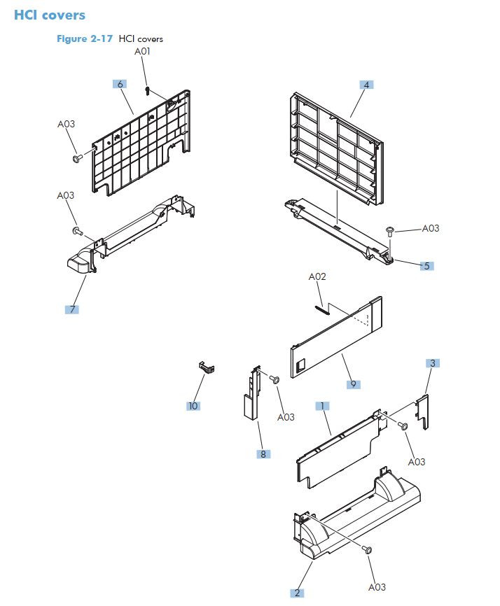 11. HP M712 HCI Covers printer part diagrams