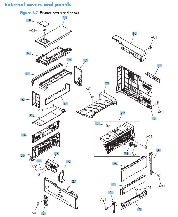 1. HP M712 Covers panels and doors printer part diagrams