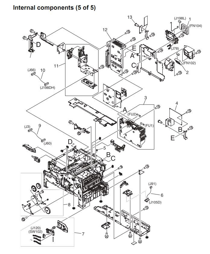 13. HP 4345 Q3942A 4345x Q3943A 4345xs Q3944A 4345xm Q3945A Internal components 5 or 5 Printer Part Diagrams