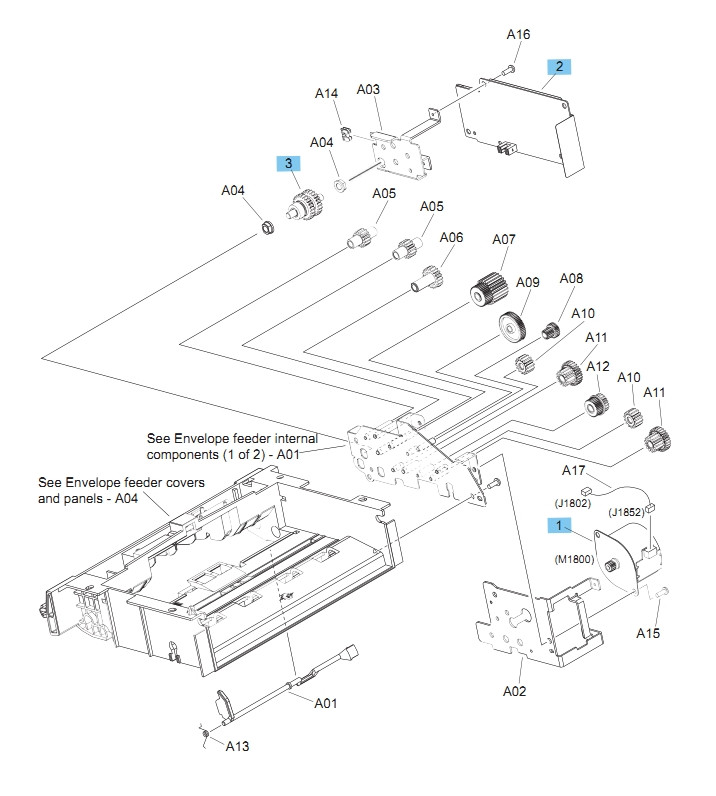 Envelope feeder Internal Components 2 of 2 M604 M605 M606 Printers Part Diagram