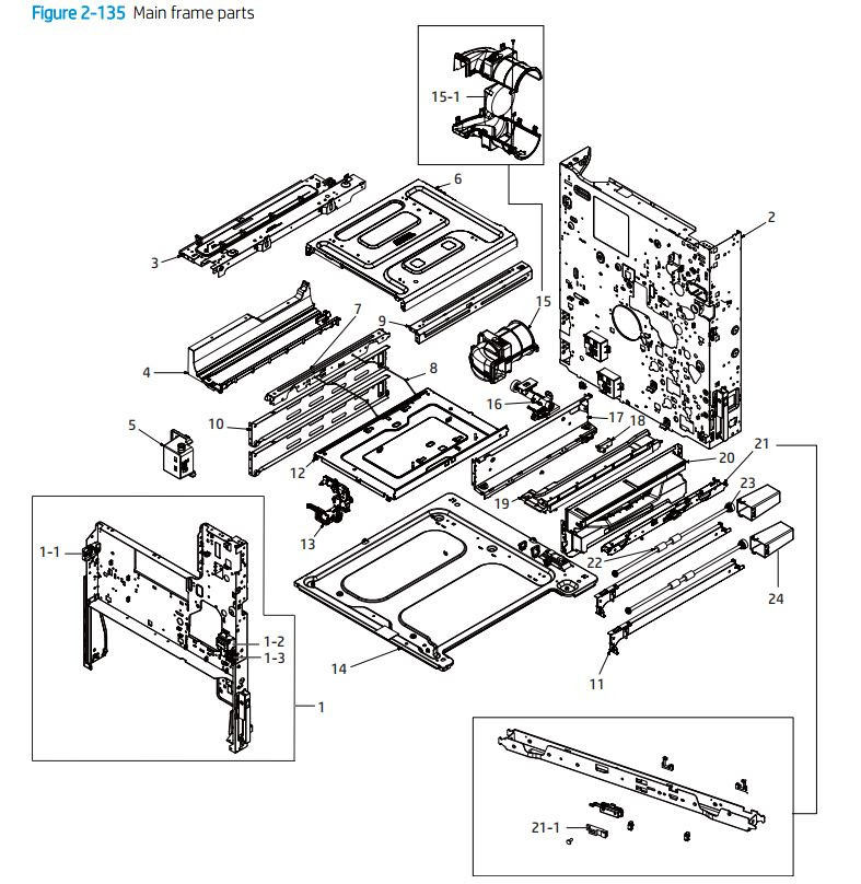 9. HP E72425 E72430 Main frame parts printer parts diagram