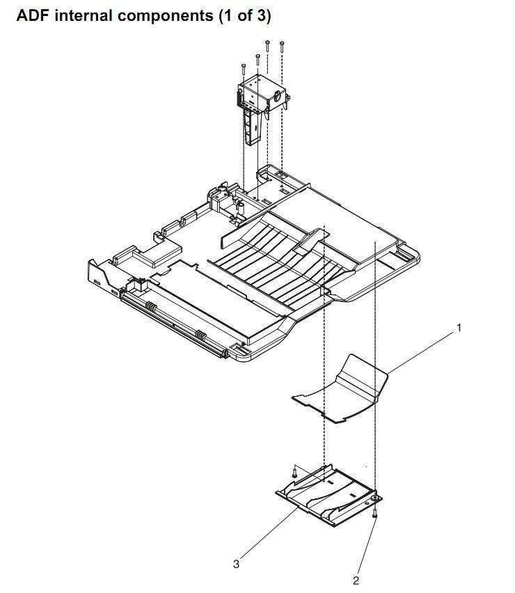 26. HP 4345 Q3942A 4345x Q3943A 4345xs Q3944A 4345xm Q3945A ADF assembly internal components 1 of 3 Printer Part Diagrams
