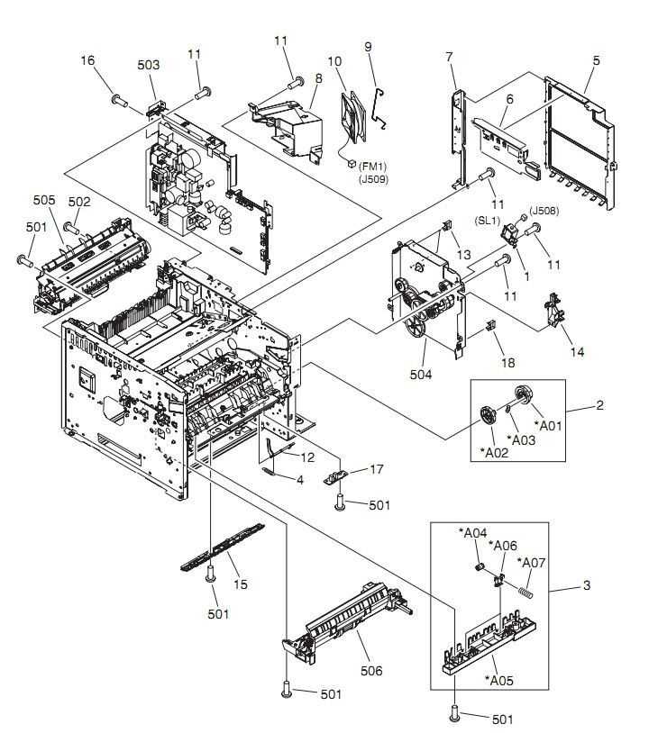 6. HP LaserJet P3005 Internal components 5 of 6 Printer Parts Diagrams