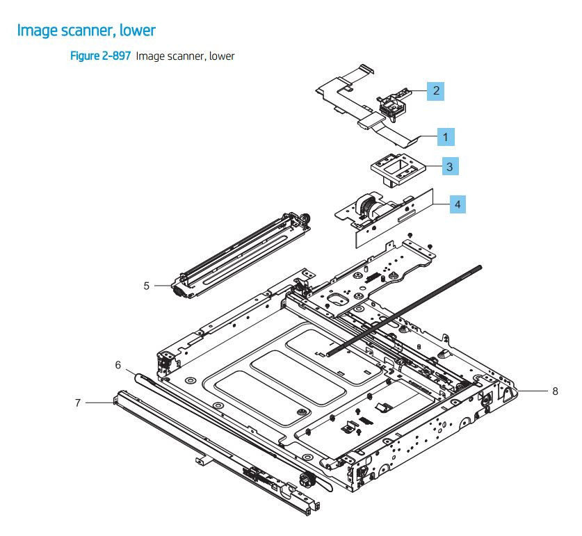 27. HP LaserJet E82540 E82550 E82560 Image Scanner Lower Printer Parts Diagram