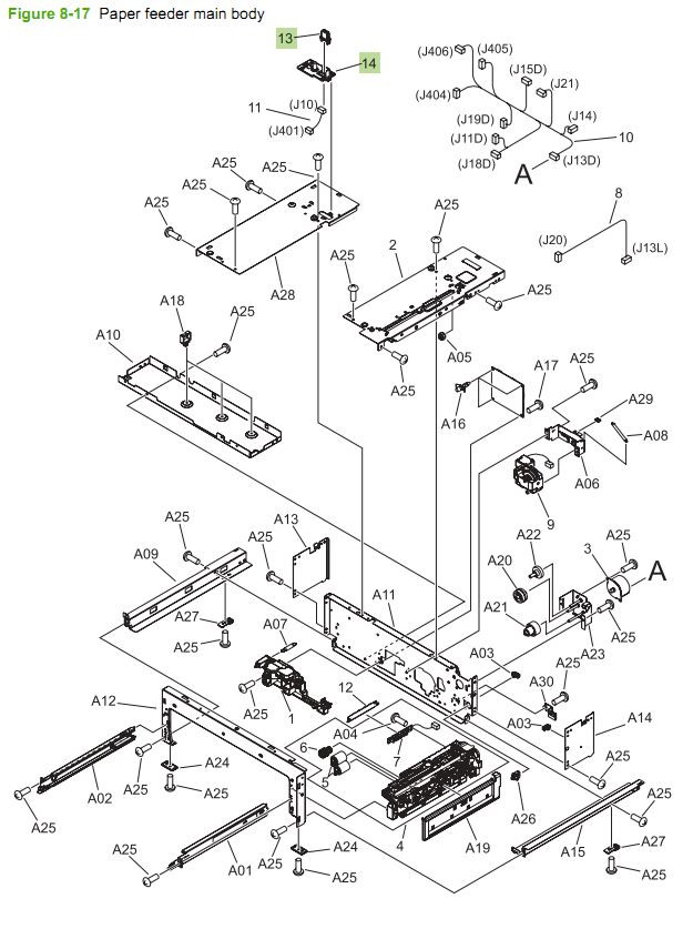 17. HP CM3530 Paper Feeder Main Body printer parts diagram