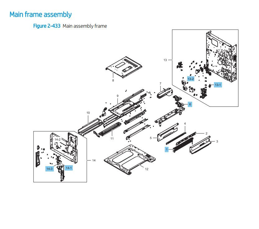 6. HP LaserJet E82540 E82550 E82560 Main Frame Assembly Printer Parts Diagram