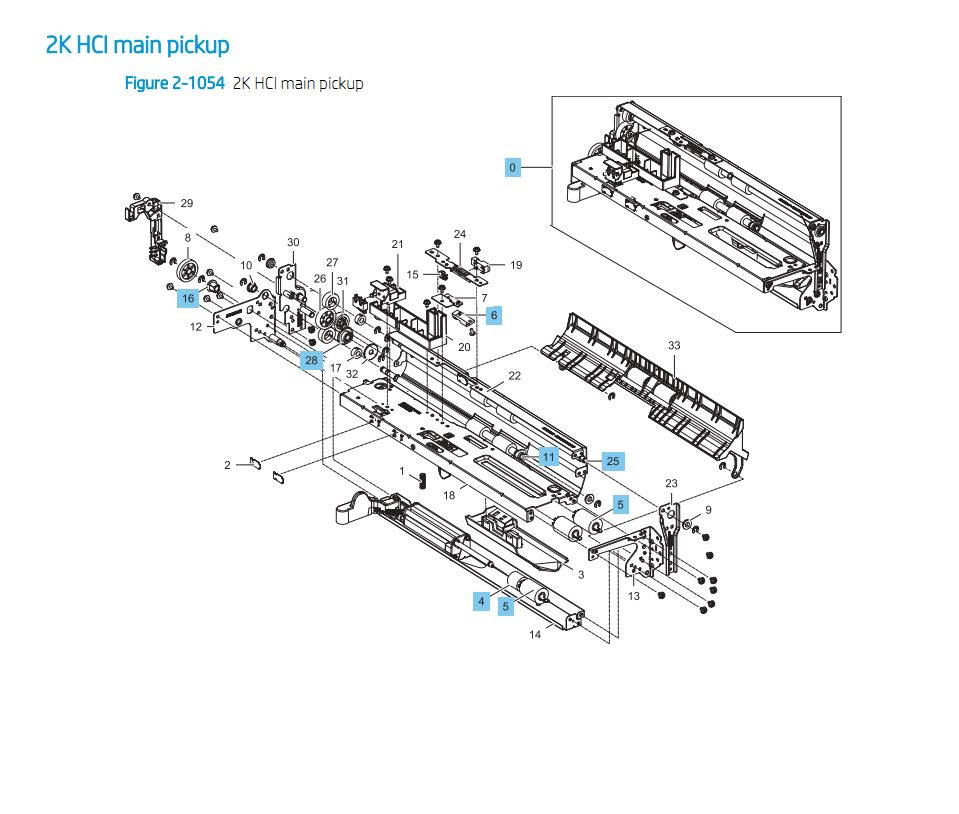 36. HP E87640 E87650 E87660 2000 Sheet HCI Main Pickup Printer Part Diagrams