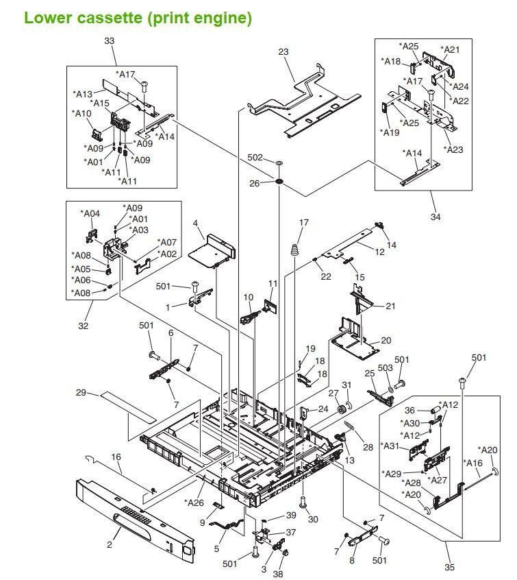31. HP M5025 M5035 Lower Cassette assembly print engine printer part diagrams