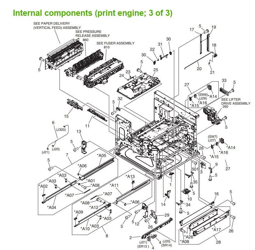 24.  HP M5025 M5035 Internal component 3 of 3 printer part diagrams