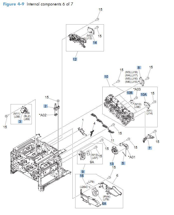 9. HP CM4540 Internal Components 6 of 7 printer parts diagram