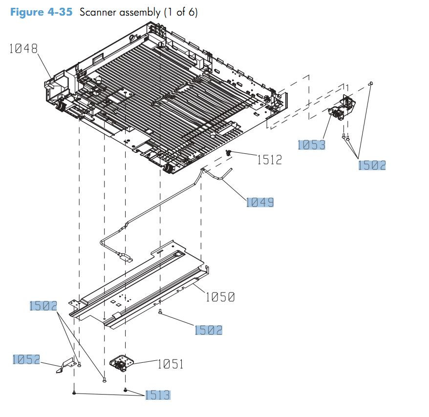 35. HP CM4540 Scanner assembly 1 of 6 printer parts diagram