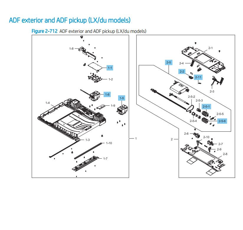 19. HP LaserJet E82540 E82550 E82560 ADF exterior ADF pickup LX du models Assembly Printer Parts Diagram