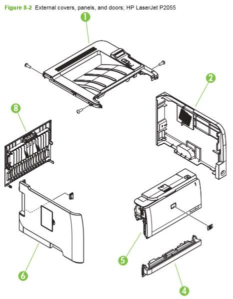 2. HP P2050 P2055 Internal assemblies 1 of 6 printer parts diagram
