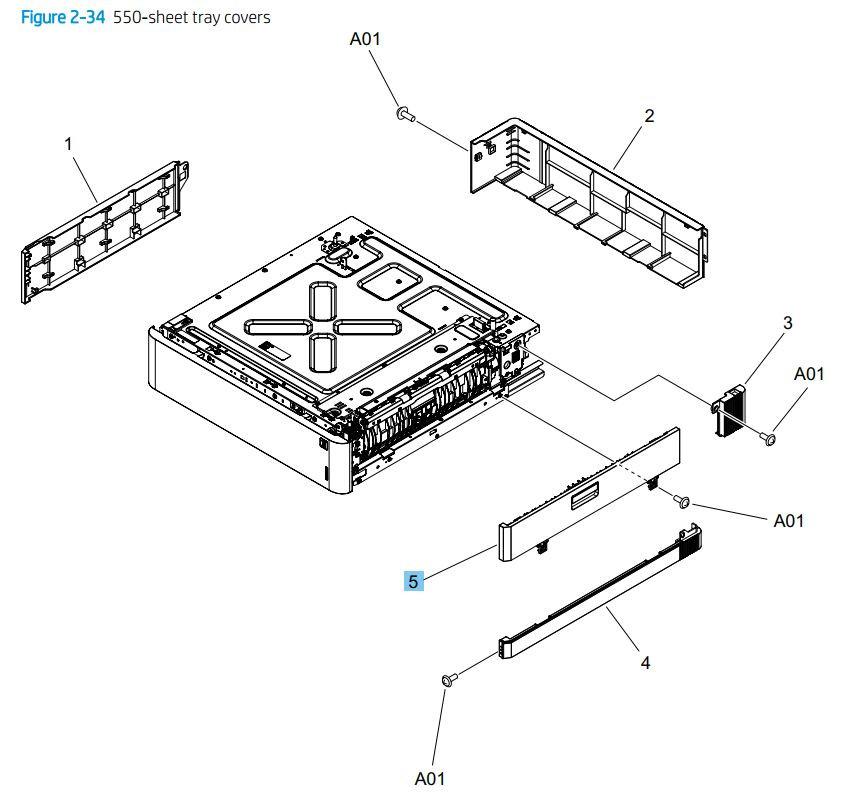 34. HP M776dn M776z M856 E85055 550 sheet tray covers printer parts diagram