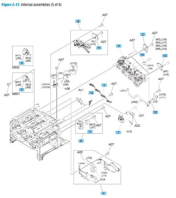 15. HP M680 M651 Internal Assemblies 5 of 6 printer parts diagram